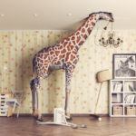 giraffe stands inside of children's room with it's head breaking through the ceiling